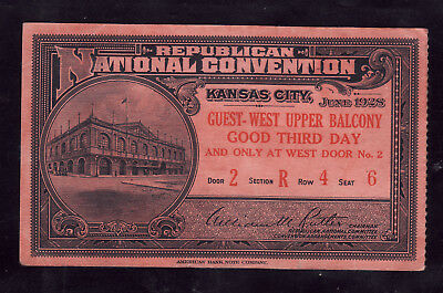 1928 Republican National Convention  Herbert Hoover Kansas City Ticket