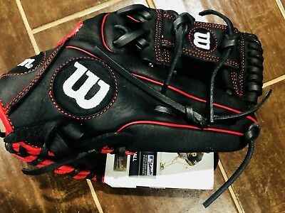 Wilson A950 Adult Leather Baseball Glove New 11.5 Broken In Ready Black & Red