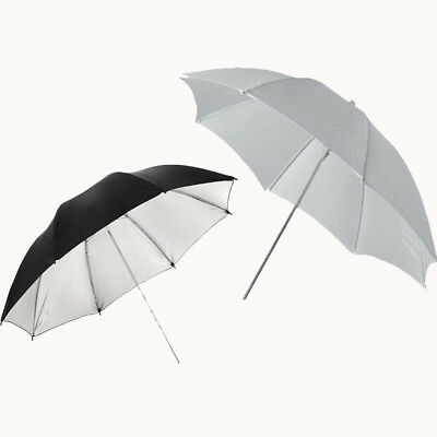 "33"" 83cm flash Light White Soft and Silver black Umbrella Studio Photo"