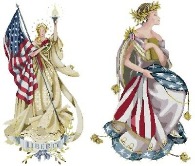 Lady of The Flag + Queen of Freedom  - Cross Stitch Chart - Digital Format