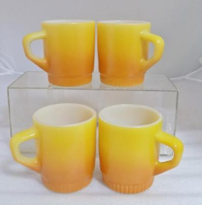 Lot of 4 Anchor Hocking Fire King Cups Yellow & Orange White D-Handle Stackable