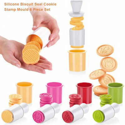 6Pcs/Set Christmas Cookies Stamp Plunger Biscuit Mold Cookie Cutter Baking Tool