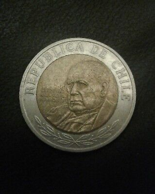 Chile 500 Pesos coin  (South America) bimetallic