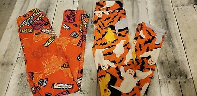 LuLaRoe Kids Leggings Halloween 2 piece Lot L/XL NWOT Ships Fast Ghost & Candy