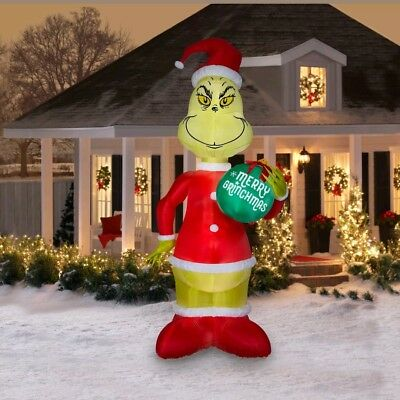 Inflatable Holiday Christmas Grinch Yard Decoration Lights Up LEDs