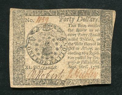 Cc-84 September 26, 1778 $40 Fourty Dollars Continental Currency Note