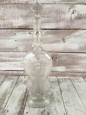 Antique Figural Decanter Bottle Butterfly Stopper