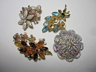 Lot of Four Gorgeous Vintage Rhinestone Pins Juliana Style