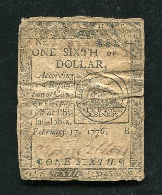 "Cc-19 February 17, 1776 $1/6 One Sixth Dollar Continental Currency ""Fugio"" (B)"