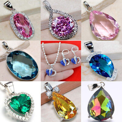 Lot 925 Sterling Silver Sapphire Rubby Pendant For Necklace Earring Jewelry Gift