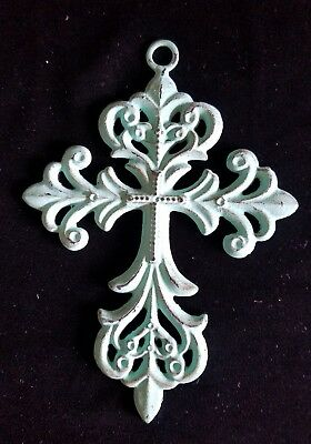 """Cast Iron  Turquoise Painted Wall Cross 5"""" X 7"""""""
