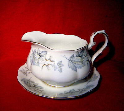 ROYAL ALBERT *SILVER MAPLE* GRAVY BOAT and DETACHED UNDERPLATE GOLD TRIM ENGLAND