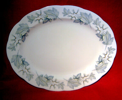 """Royal Albert *silver Maple* 15"""" Oval Serving Platter Gold Trim Made In England"""