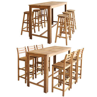 vidaXL Wooden Bar Table and Chair/Stool Set 3/5/7 Piece Kitchen Dining Bistro