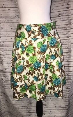 0d4e43c9c Milly New York Cream Green Teal Brown Floral A Line Pleated Cotton Skirt Sz  6