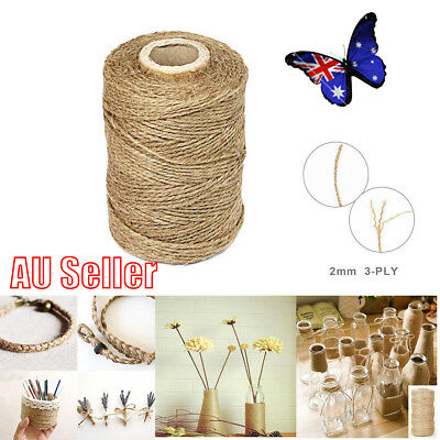 3Ply 100m Natural Brown Soft Jute Rope Twine Sisal String For Art Gift Bottle NW