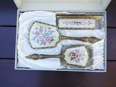 Vintage Collectable Delina Petit Point 4 Pice Dresser Set cartoned 2063/PPB