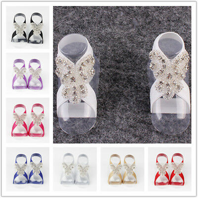 Newborn Baby Girl Kids Infant  Crystal Foot Flower  Accessories