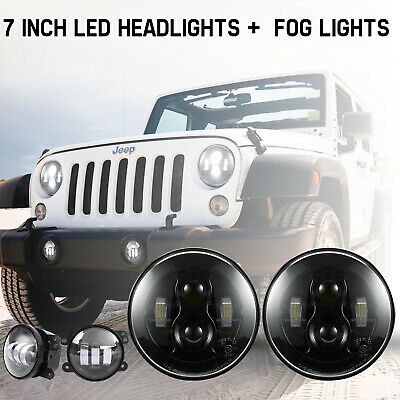 200W LED Headlights 7inch 2Pcs Offroad Driving Lights for Jeep Wrangler JK 07-17