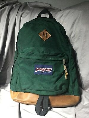 attractivefashion hot sale in stock VINTAGE JANSPORT USA Hunter Forest Green Leather Bottom ...