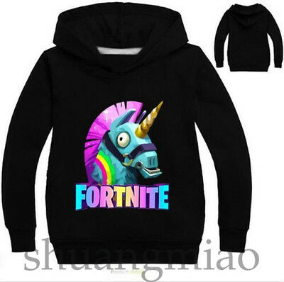 Fortnite Rainbow llama Kids Hoodie Sweatshirt Sweater Coat 2-11 Years