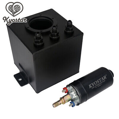 2 Litre 6AN Black Aluminum High Flow Fuel Surge Tank + External 044 Fuel Pump