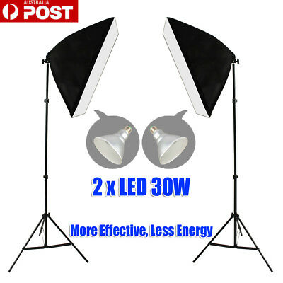 300W Bulbs Photography Studio Softbox LED Lighting Soft Box Light Stand Kit AU