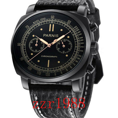 45mm Parnis Multifuncti Quartz black Dial mens Wrist Watch full Chronograph 31
