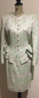 Vintage Skirt Suit 1980s Size 6-8 By Emmanuel Ungaro/Races/summer Wedding