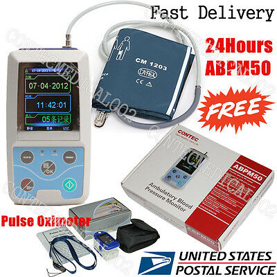 US FDA Ambulatory Blood Pressure Monitor +USB Software 24h NIBP Holter+Oximeter