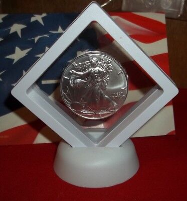 1 oz American Silver Eagle .999 Solid Silver $1 2018 USA Coin In 3D display case