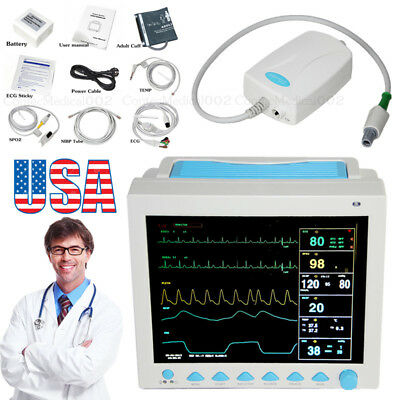 ICU Patient Monitor,Vital Signs Monitor,6 Parameters ETCO2 CO2 Sensor,USA Seller