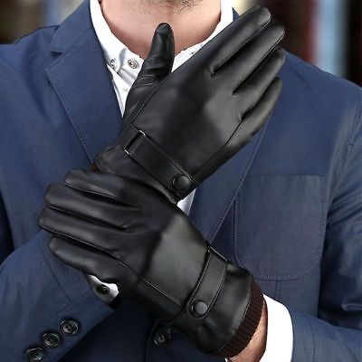 Men's Touch Screen Winter Warm Leather Windproof Driving Fleece Lined Gloves
