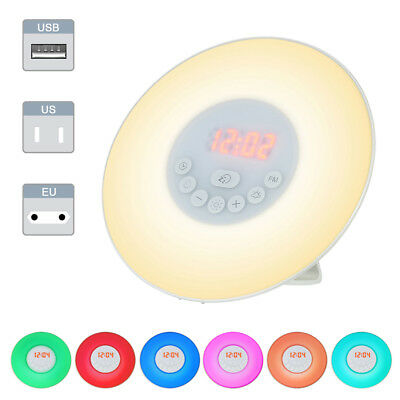 Wake-up Light Sunrise Alarm Clock LED FM Radio Bedside Night Lamp 7 Colors Grand