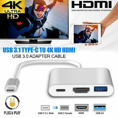 3in1 Type-C to HD HDMI USB 3.1 Hub USB-C Charging Adattatore per Apple MacBook