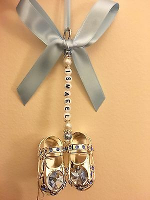 Personalised Pram Charm - Silver Plated Blue Baby Shoes With Swarovski Crystal
