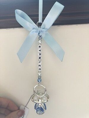 Personalised Pram Charm - Silver Plated Blue Dummy With Swarovski Crystals
