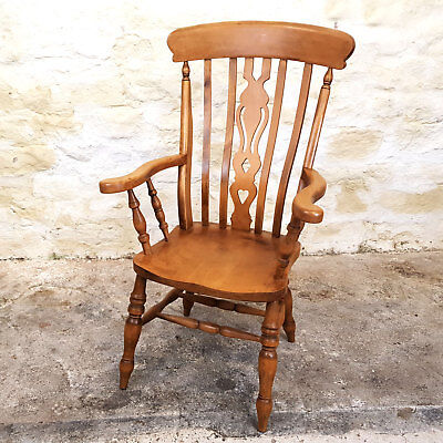 Windsor Lathe & Pierced Splat Back Beech Country Kitchen Armchair Carver