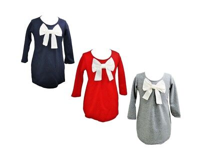 Girls Kids Winter Long Sleeve Big Bow Casual Formal Party Top Tunic Dress 2-12