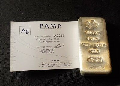 PAMP SUISSE CAST SILVER BAR 1KG certified silver Investment bar 999.Ag