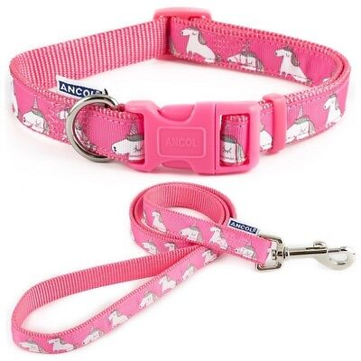 Ancol Dog / Puppy Pink Unicorn Adjustable Nylon Collar / Lead Indulgence Fashion