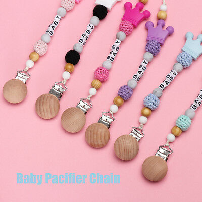 Baby Personalised Name dummy clip pacifier chain dummie binky soother holder Hot
