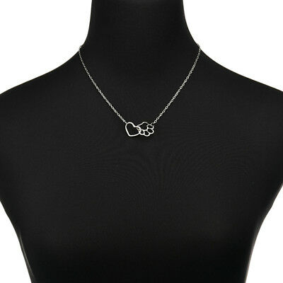 Women Pet Lover Dog Cat Paw Print Pendant Heart Necklace Simple Jewelry LH