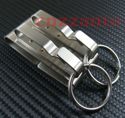 Stainless steel 2 loops Quick release Detachable Key chain Belt Clip ring holder