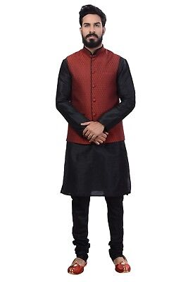 Ethnic Indian Nehru Collar Waistcoat for Men 1pc Suit (Worldwide Postage)