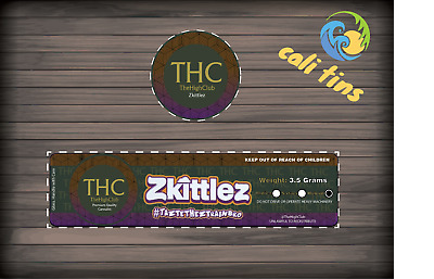 10x The Plug BCN - Zkittlez 60ml Cali Tin JAR labels