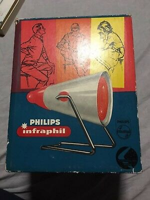 VINTAGE  PHILIPS RED INFRAPHIL HEAT LAMP ORIGINAL BOX Red Infared Light For Pain