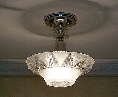 488 Vintage aRT DEco Ceiling Light Lamp Fixture Glass Chandelier white 3 bulb