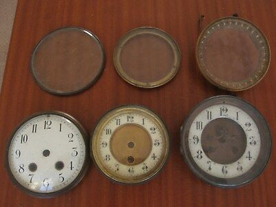 Job Lot Antique French Slate Mantle Clock Spare Glass Bezels Back Parts Brockot