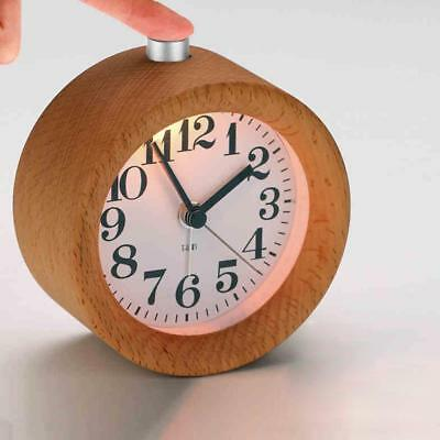 Small Creative Classic Round Silent Wooden Desk Alarm Clock/Nightlight For Gifts